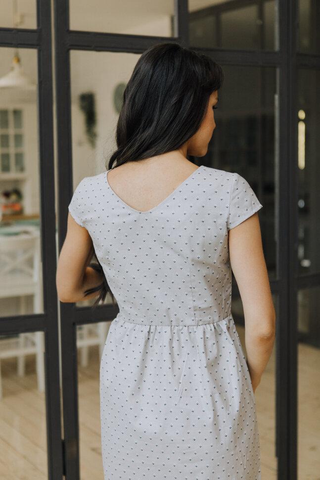 Платье Амели, бежевый цветок