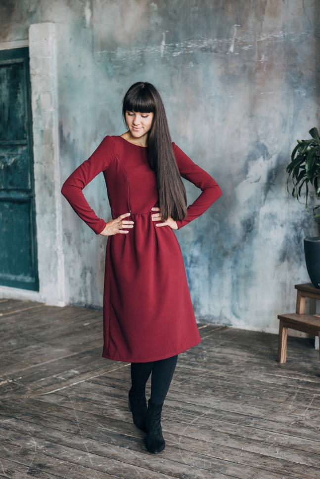 Платье Адель, бордовый