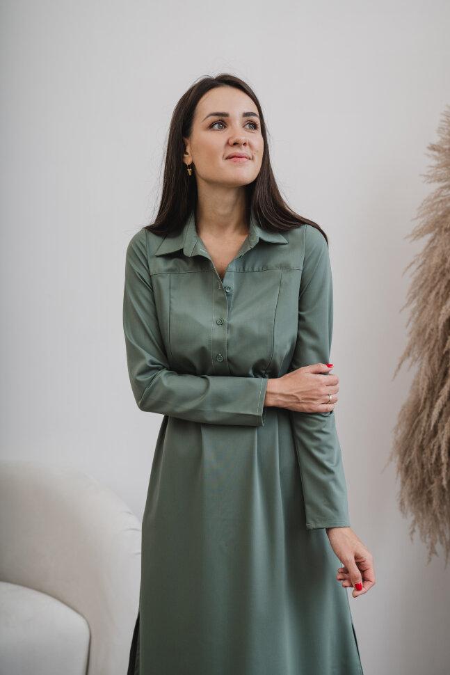Платье-рубашка, хаки