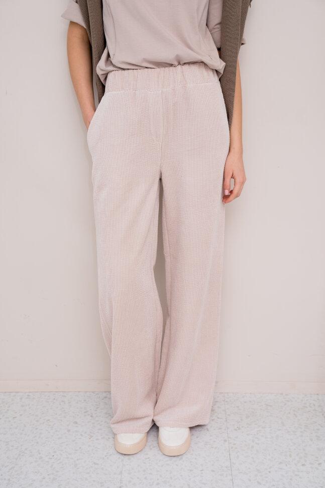Широкие брюки из вельвета, светло-бежевый