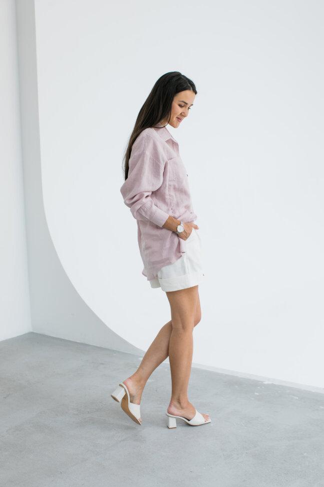 Рубашка Over Size, лен нежно розовый (без молний)