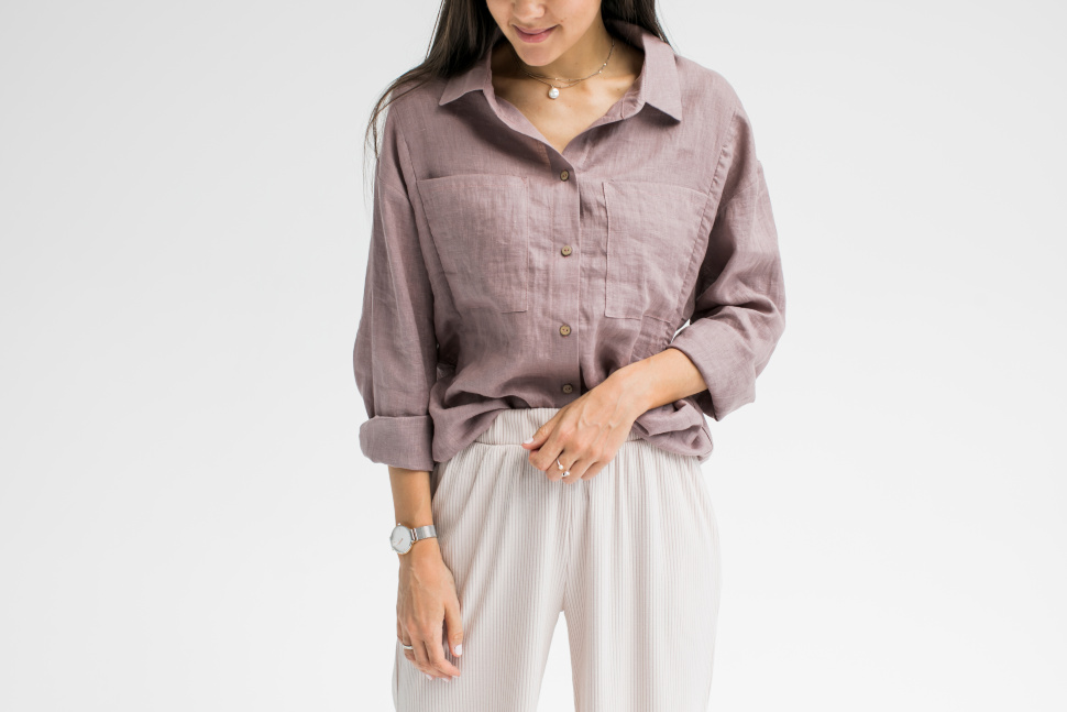 Рубашка Over Size, лен темно розовый (без молний)