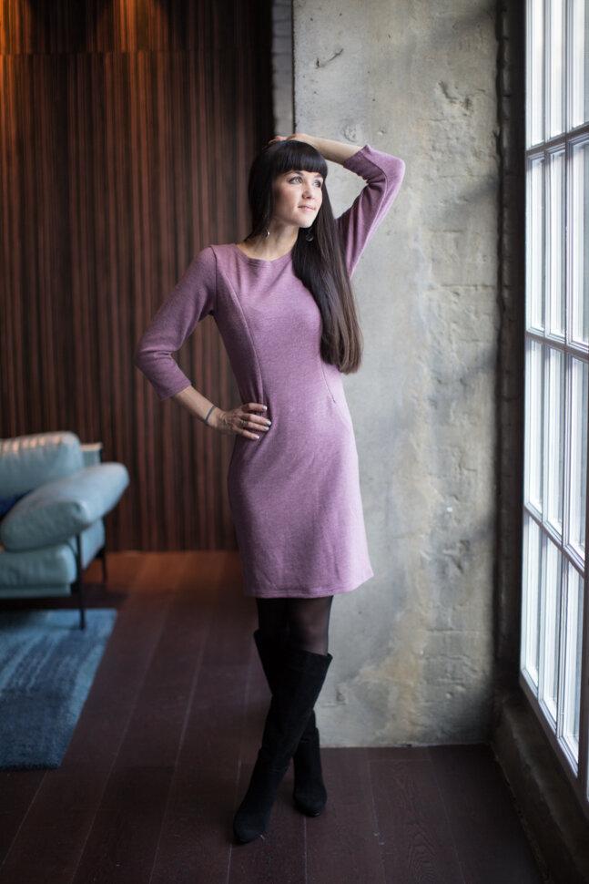 Платье с добавлением шерсти, пудровый