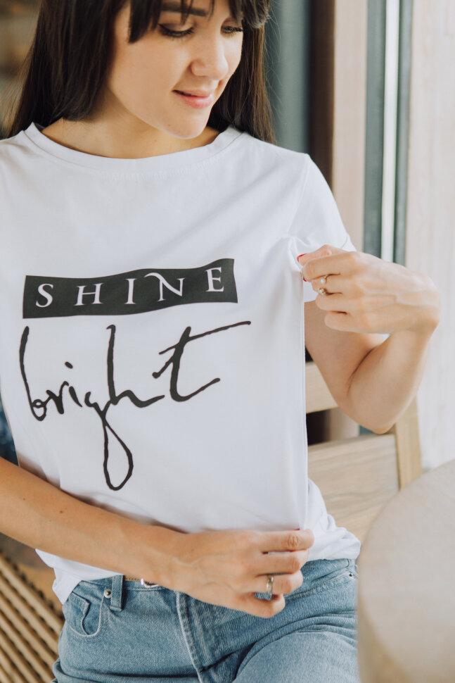 Футболка с текстом, Shine bright Белая
