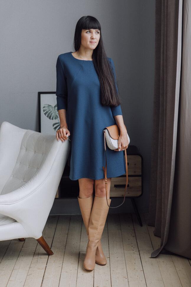 Платье-колокольчик, синий