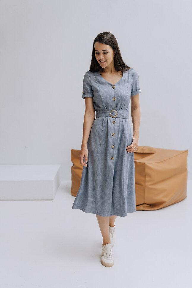 Платье «Синди», голубой лен