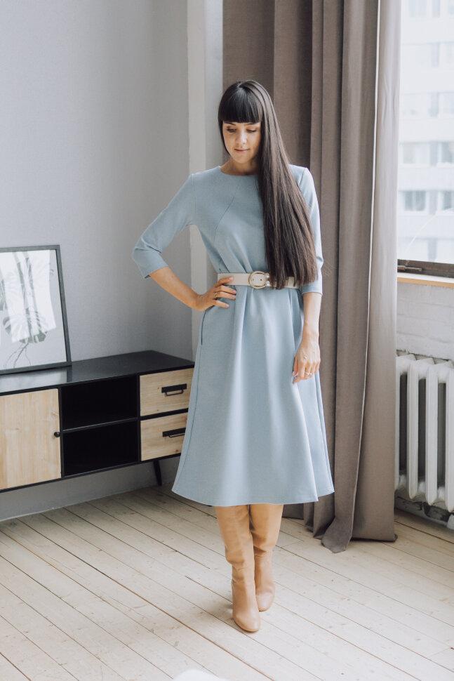Платье-колокольчик, голубой