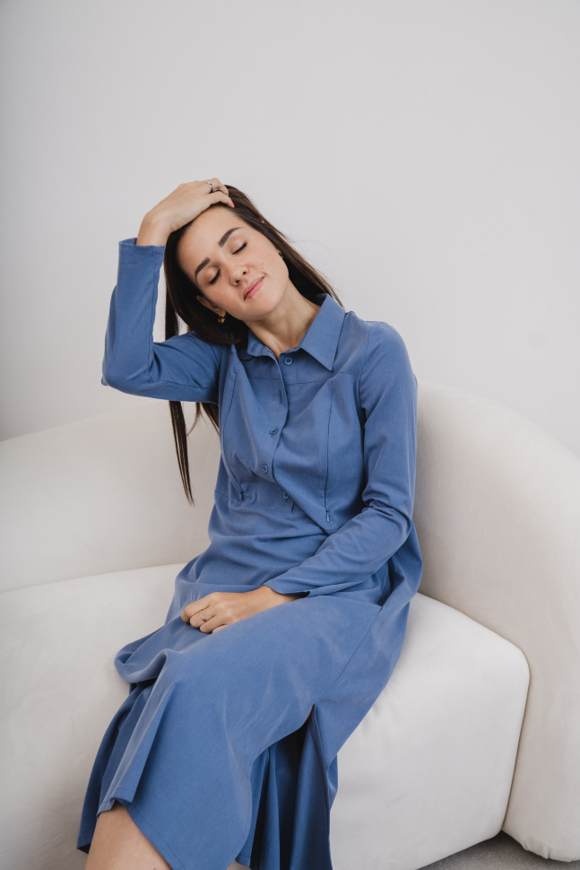 Платье-рубашка, индиго