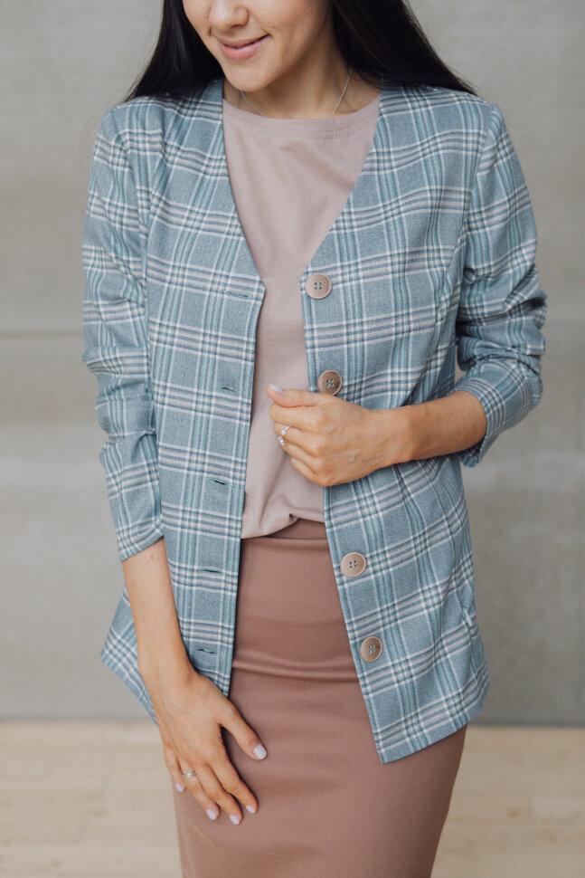 Кофта-пиджак, нежно голубой