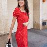 Платье со шнуровкой, красное