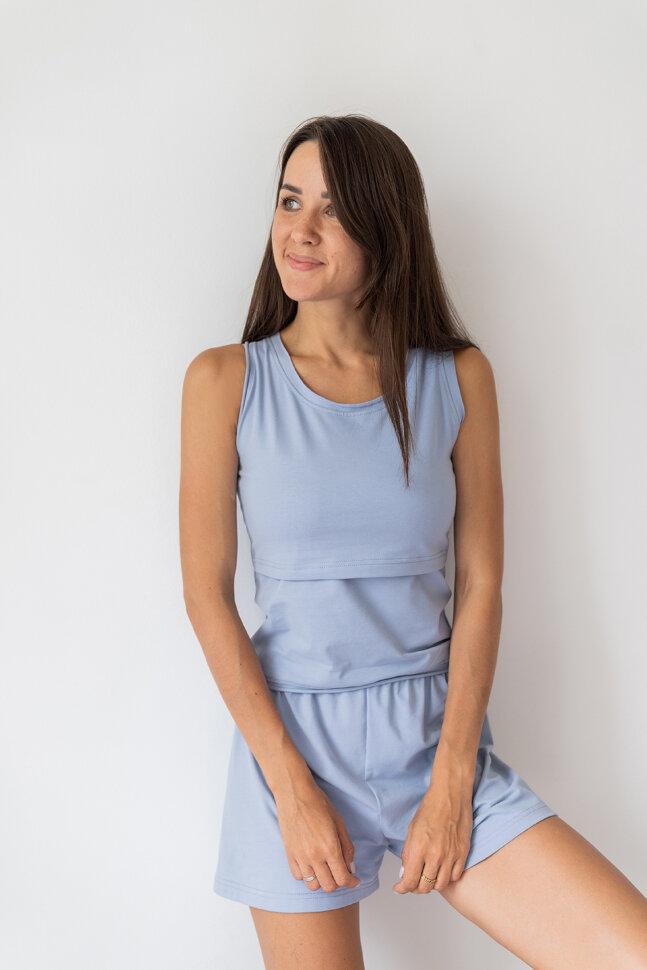 Пижама с шортами, светло-голубой
