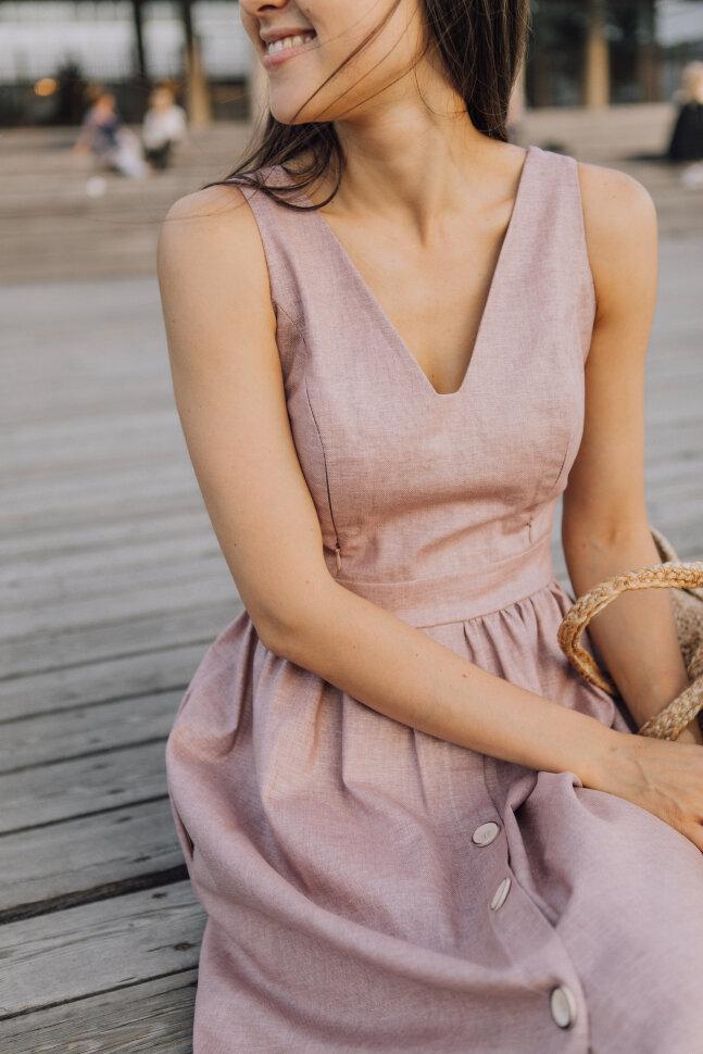 Сарафан с пуговками «Лиззи», лен