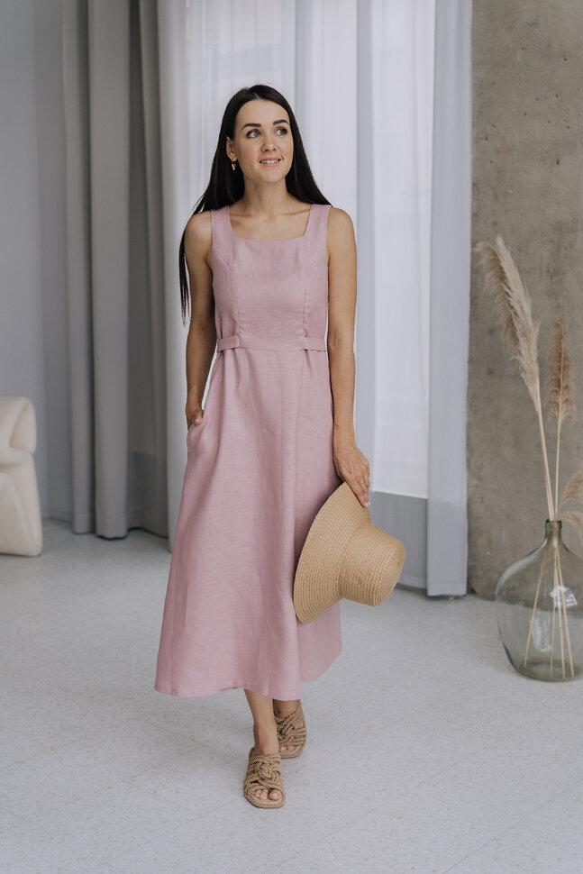 Платье «Юля», пуговки, розовый лен
