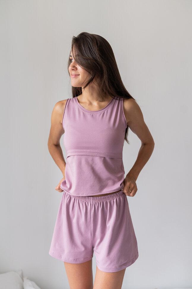 Пижама с шортами, светло-лиловый