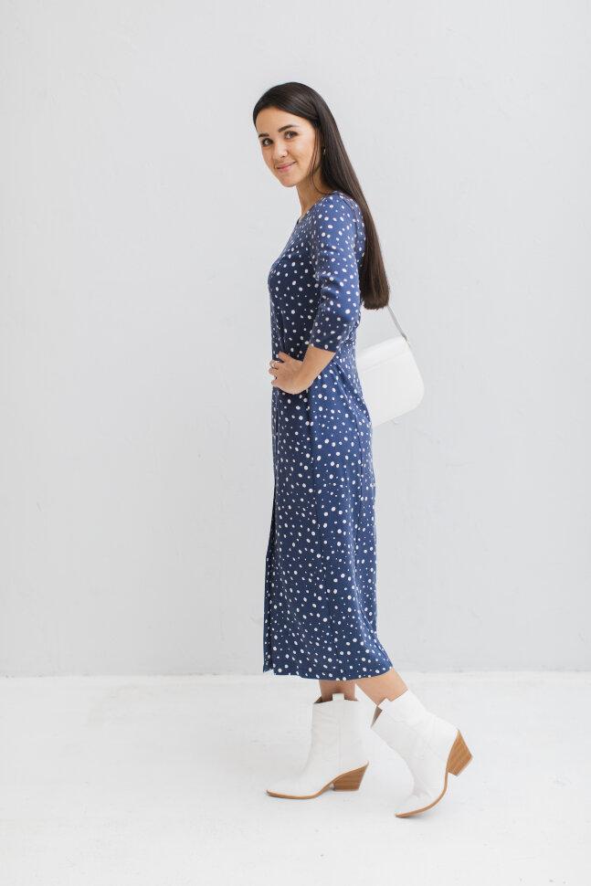 Платье с разрезом, синее (без молний)