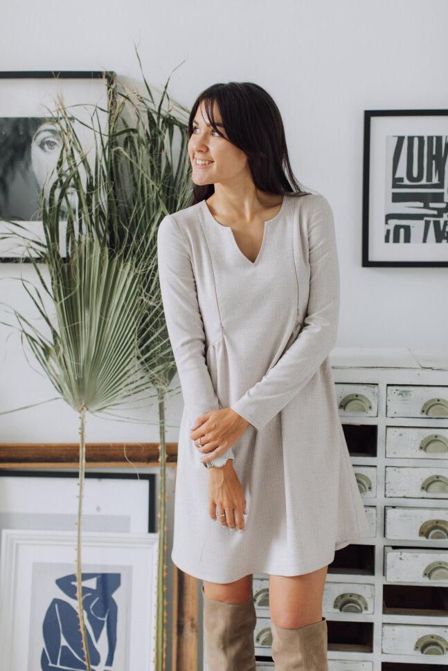 Платье «Француженка», белый в штрихи
