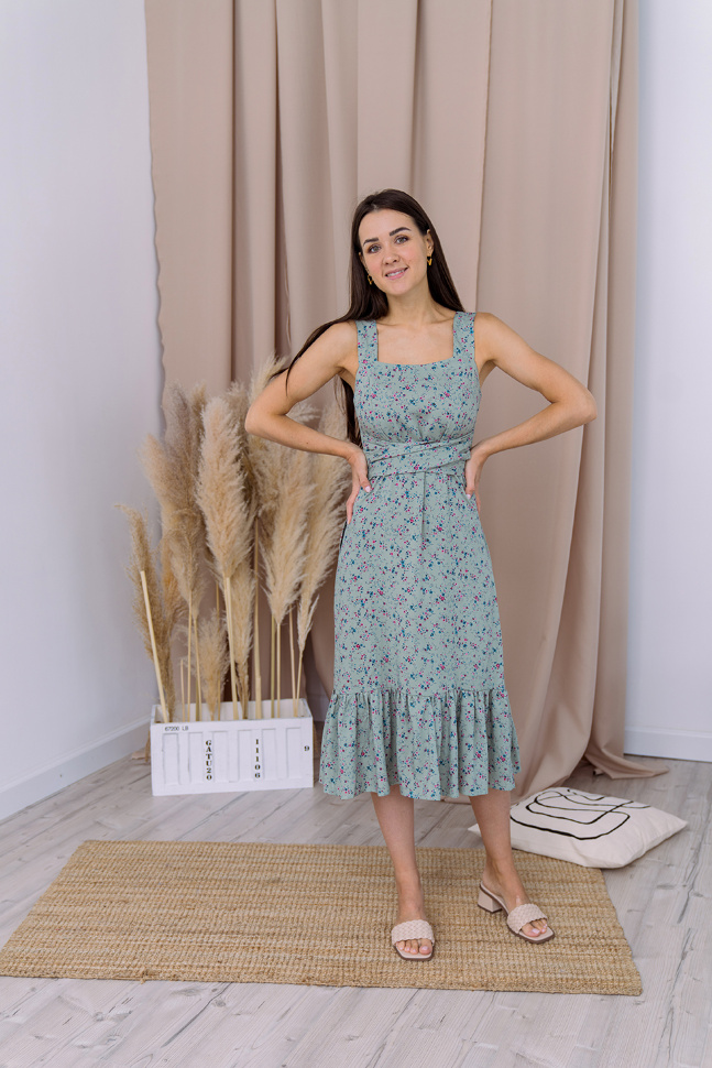 Платье «Ровена», цветы на зеленом