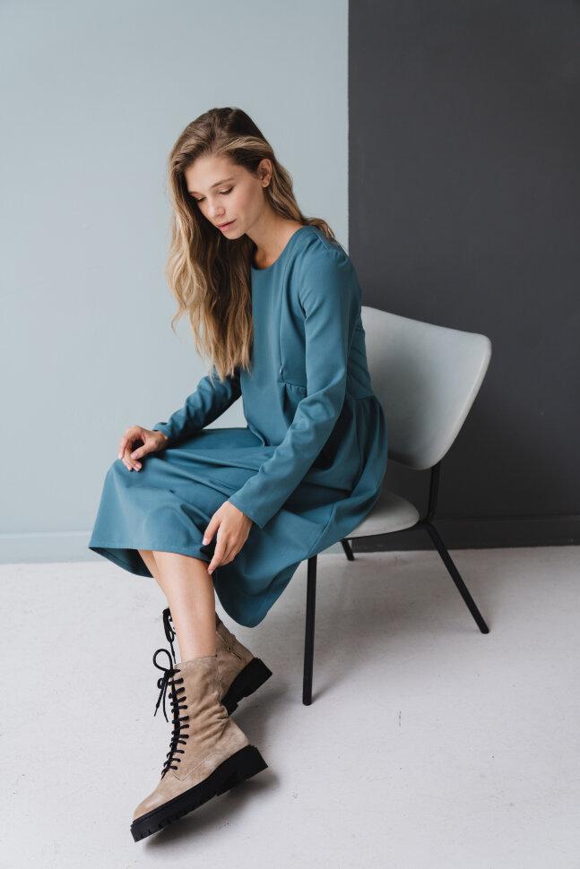 Платье «Француженка», миди, бирюзовый