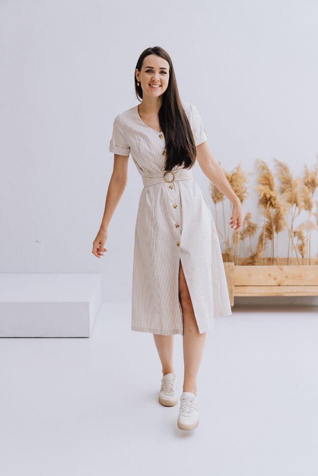 Платье «Синди», бежевая полоска