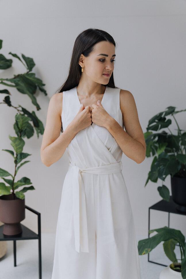 Комбинезон, белый лен