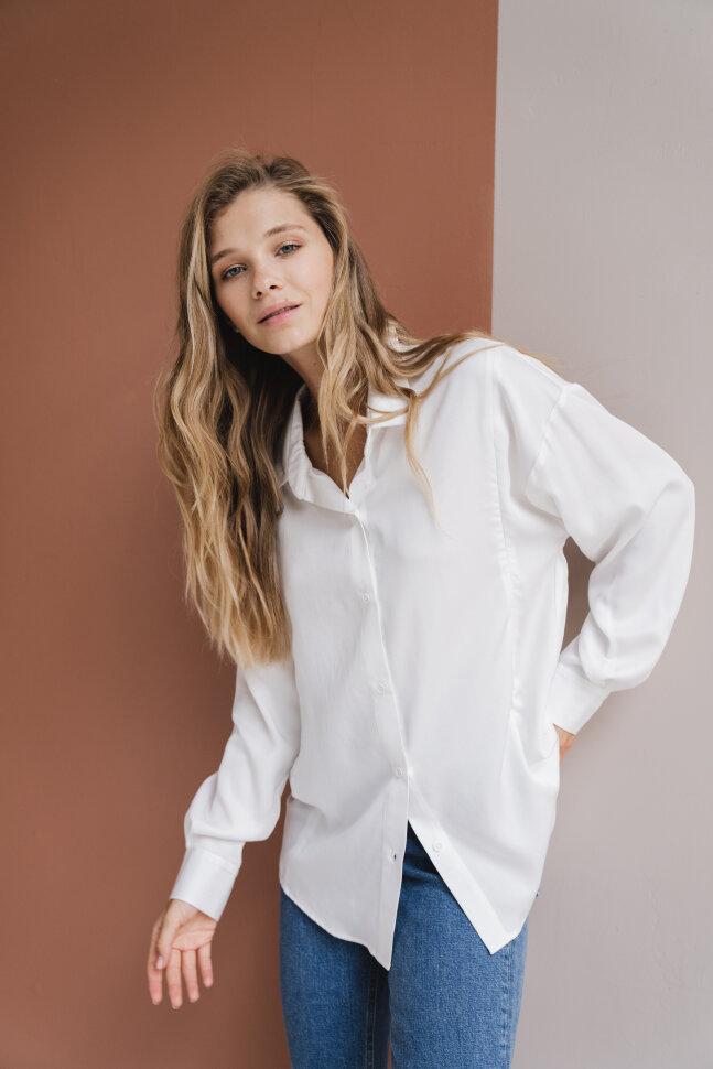Рубашка oversize, белый тенсел