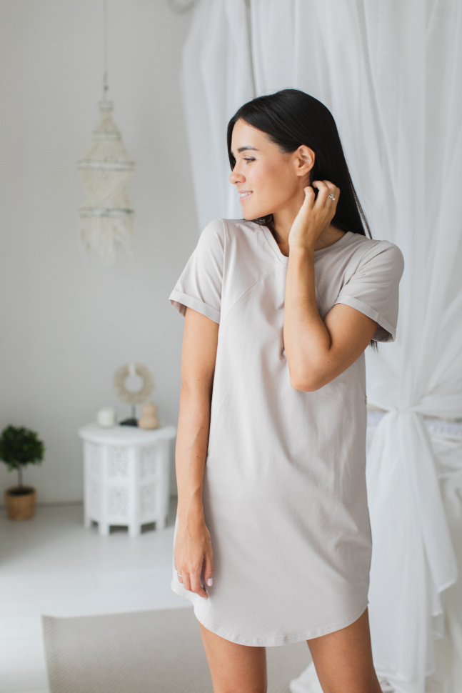 Платье-футболка для дома, какао (без молний)