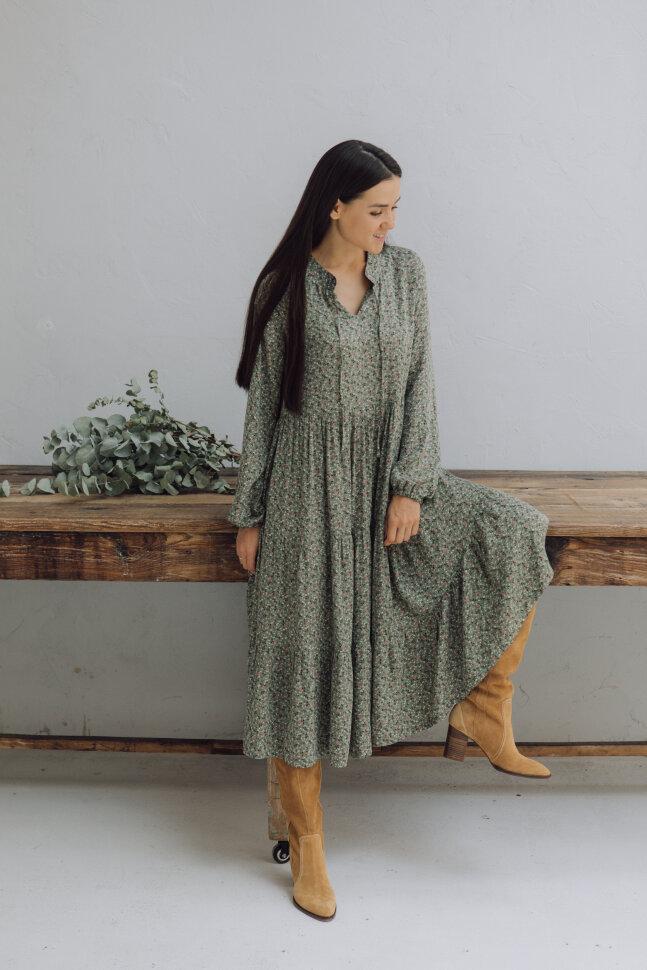 Платье Этретта, зеленый цветок