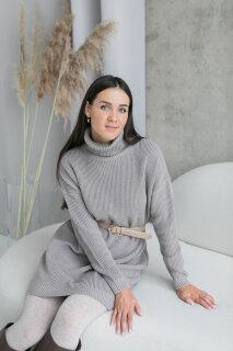 Вязаное платье-свитер, серый