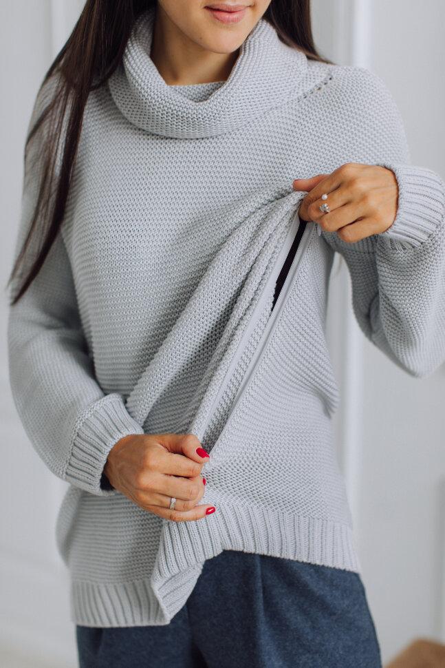Вязаный свитер с горлом, стальной