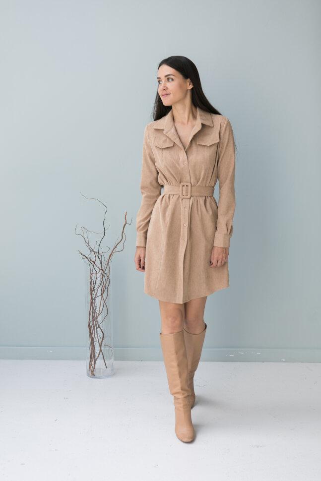 Платье-рубашка из вельвета, карамель