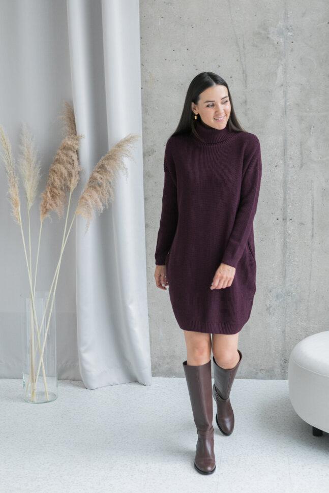 Вязаное платье-свитер, пряная вишня (без молний)