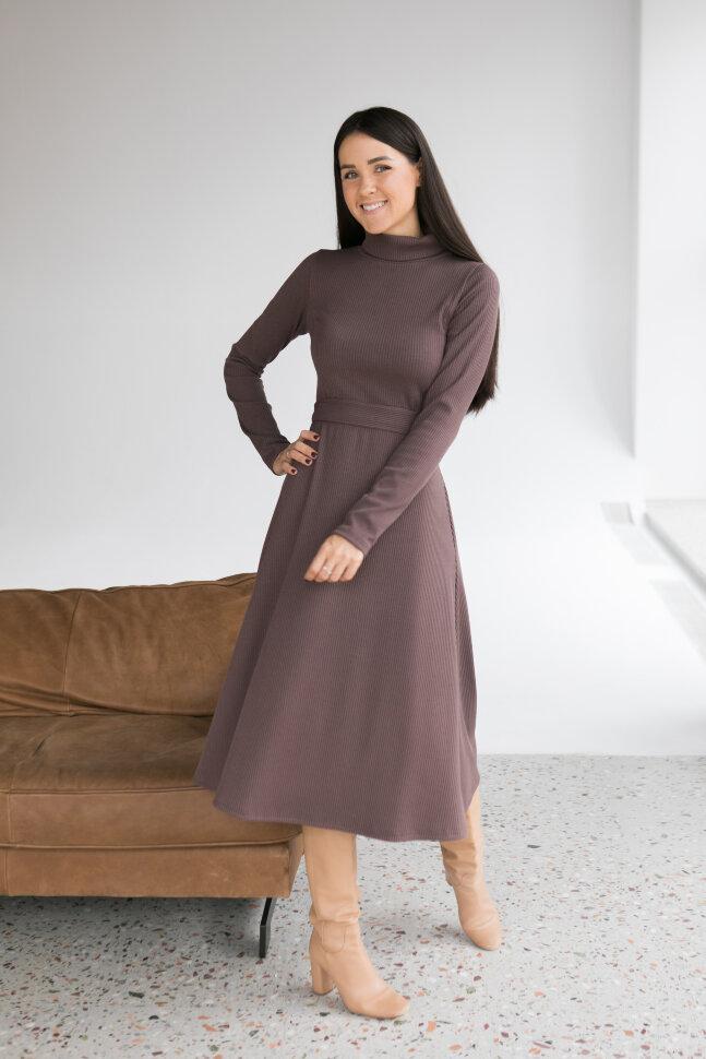 Платье-лапша А-силуэта, шоколад