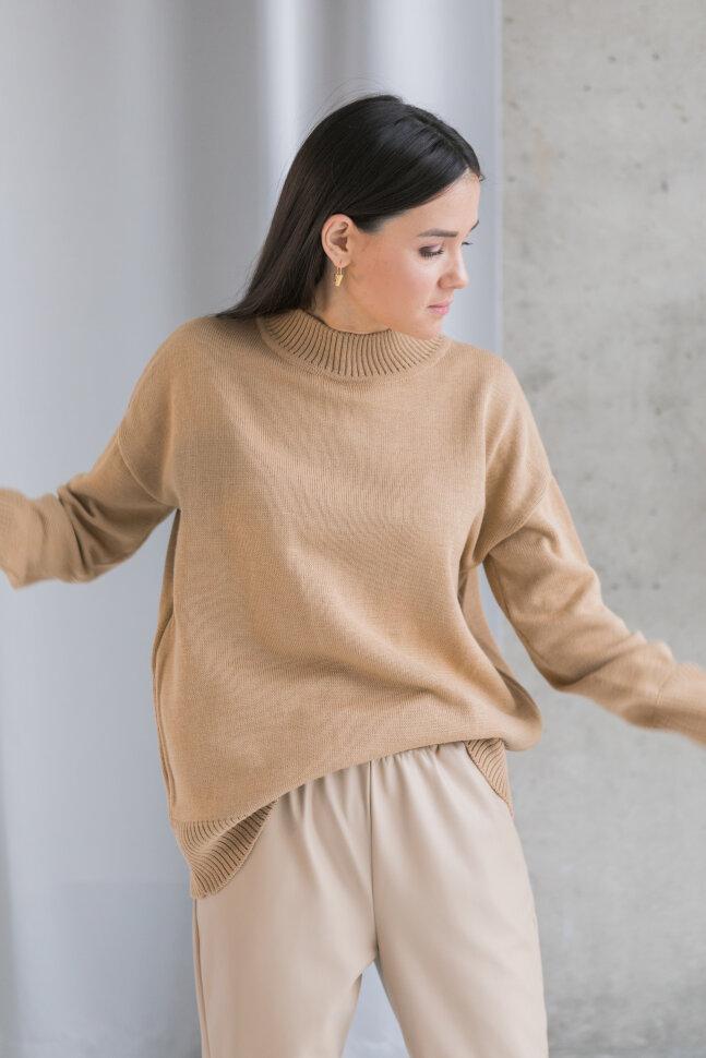 Вязанный свитер из шерсти мериноса, песочный (без молний)