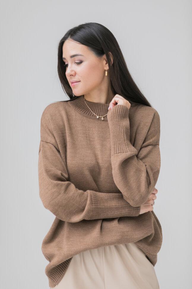 Вязанный свитер из шерсти мериноса, молочный шоколад