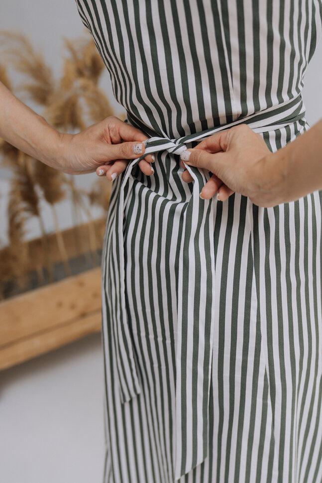 Платье «Полина», зеленая полоска