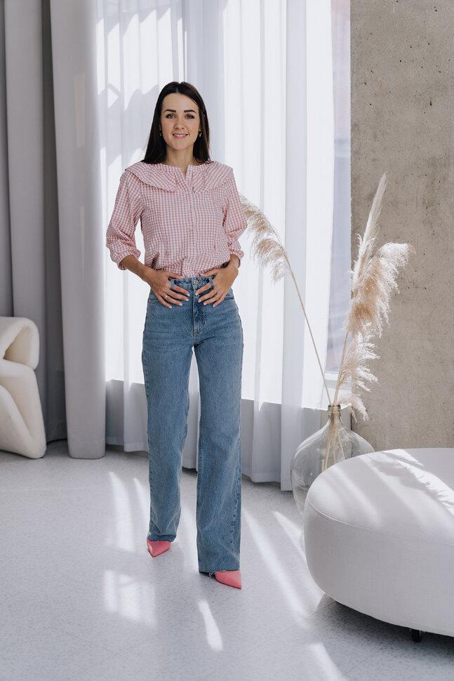 Блуза, розовая клетка