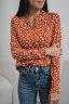 Блуза с воротником-стойкой, принт