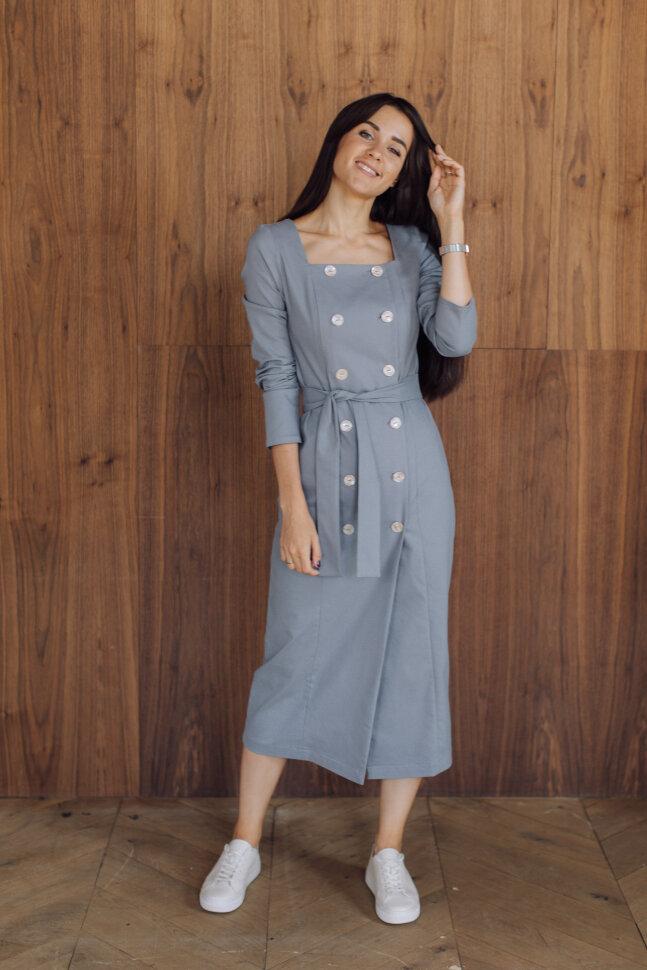Платье двубортное, серо-голубой