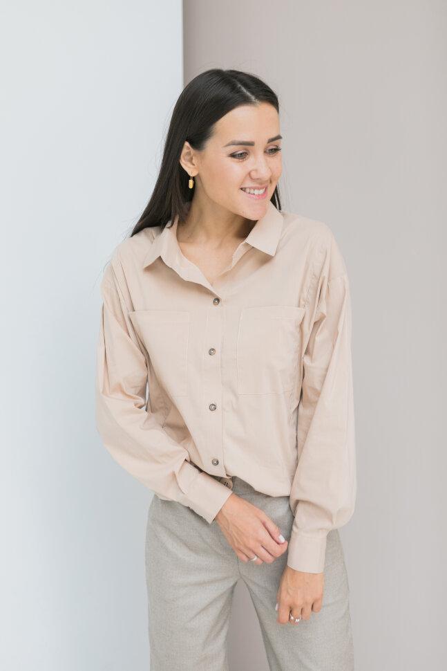 Рубашка Over Size, бежевый