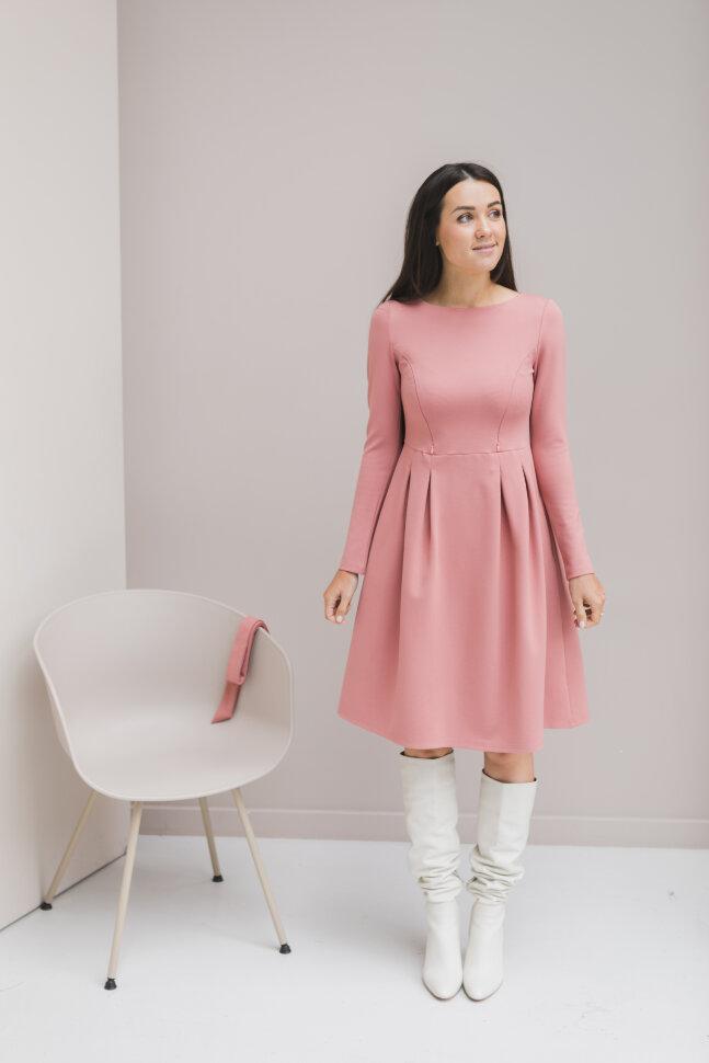 Платье А-силуэта, пыльно-ягодный