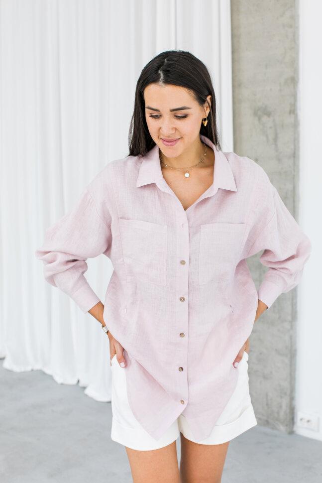 Рубашка Over Size, лен нежно розовый